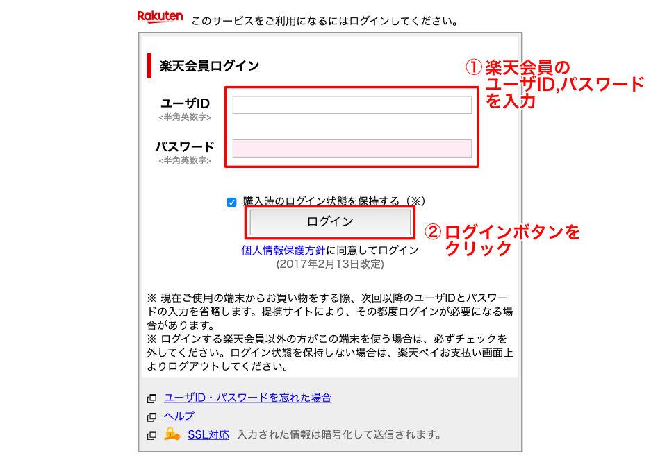 楽天IDとパスワード入力画面